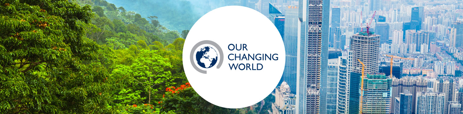 Our Changing World logo against a background of arctic iceburgs